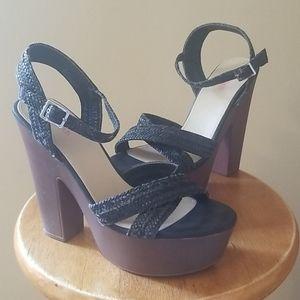 JustFab Black/Brown Sandals Size 8.5